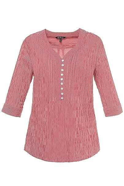 56b64251757 Ulla Popken Women s Plus Size Seersucker Textured Stripe Blouse Apple Red  Stripe 16 18 698014