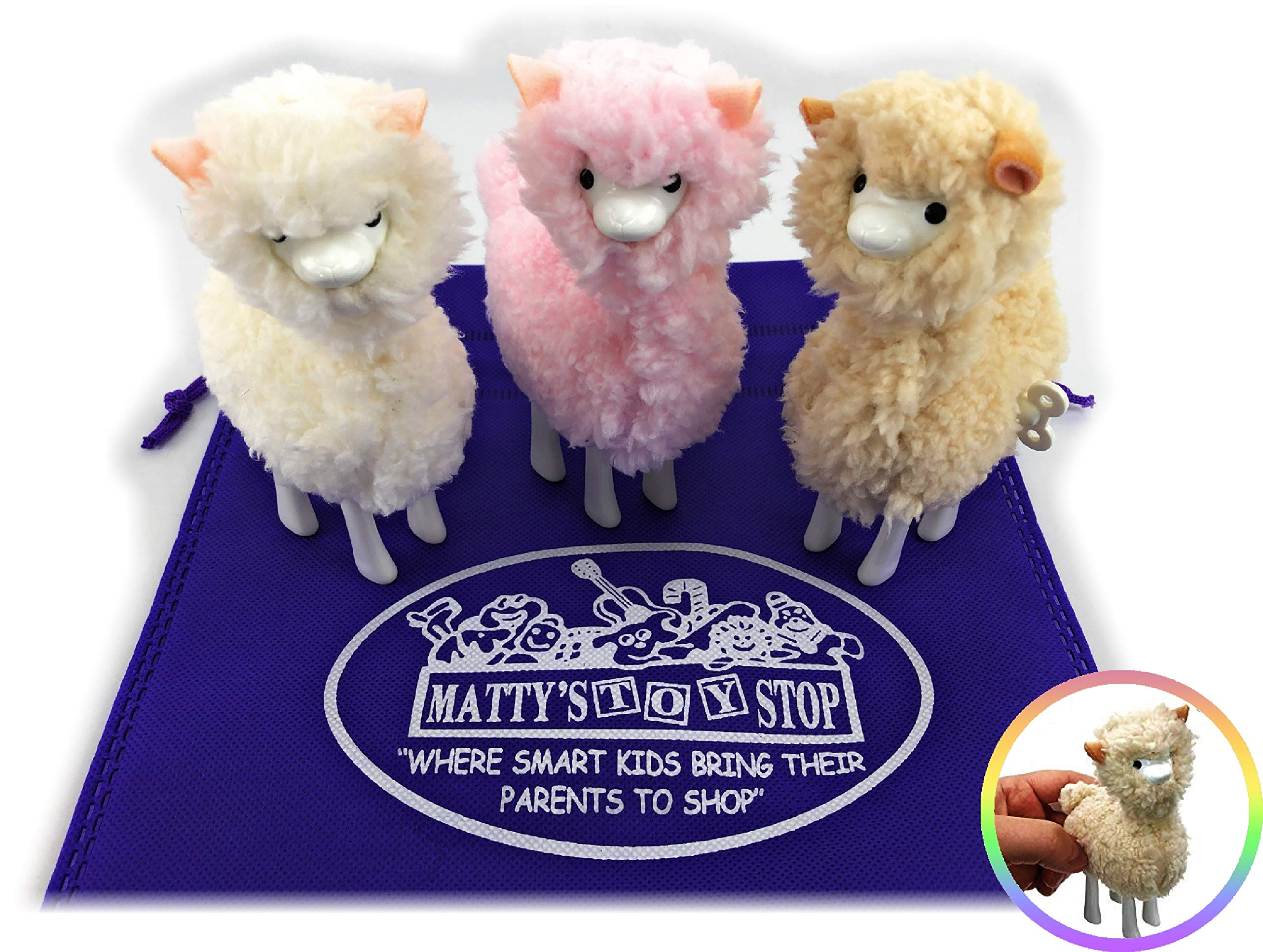 Schylling Llama Wind-Up Walkers White, Pink & Beige Gift Set Bundle with Matty's Toy Stop Storage Bag - 3 Pack by Schylling (Image #2)