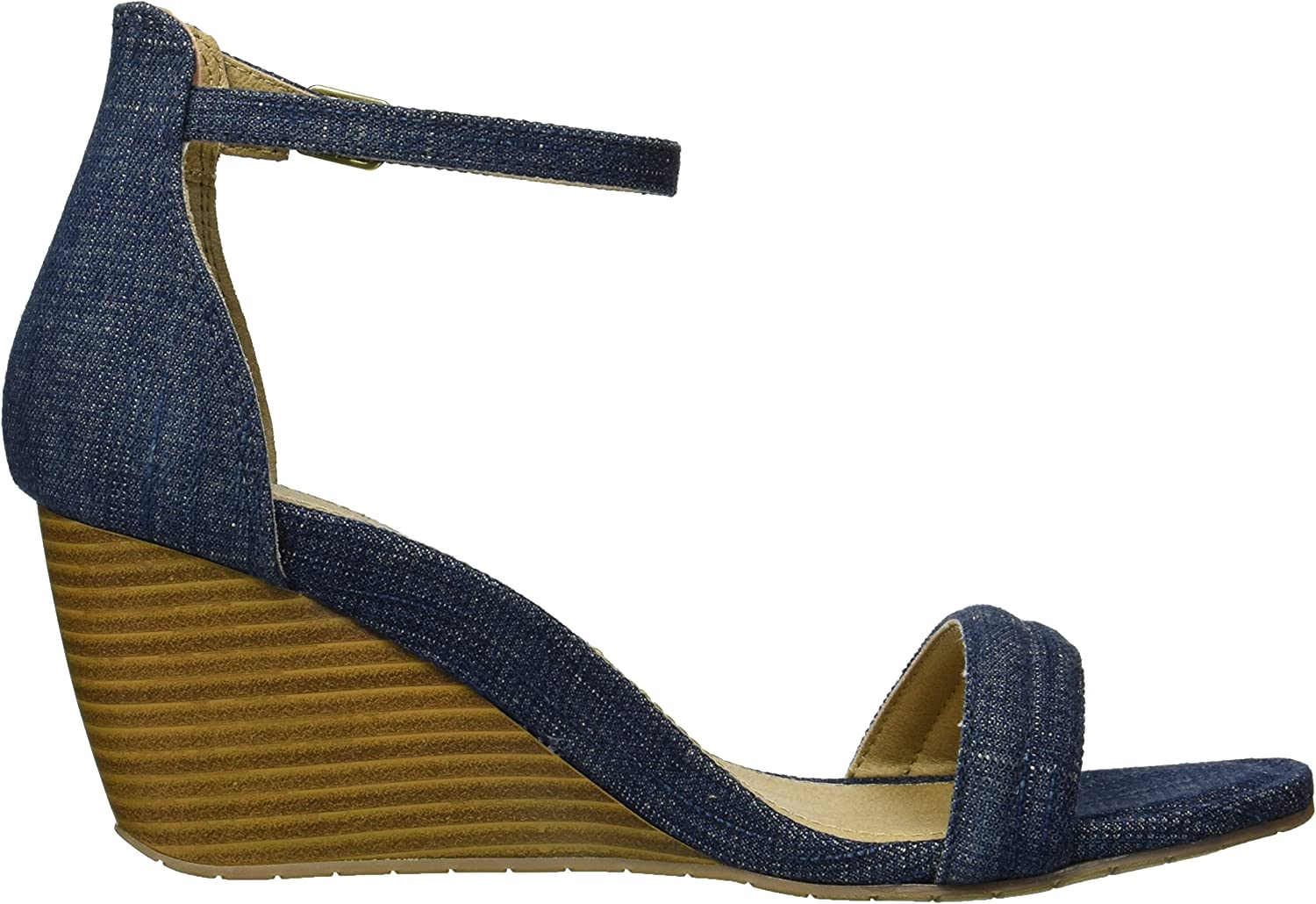 11 M US Denim Kenneth Cole REACTION Womens 7 Cake Icing Wedge Sandal with Ankle Strap