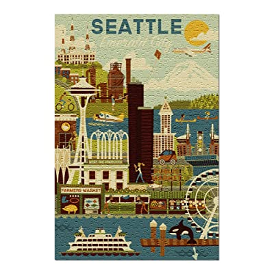Seattle, Washington - Geometric (Premium 500 Piece Jigsaw Puzzle for Adults, 13x19, Made in USA!): Toys & Games