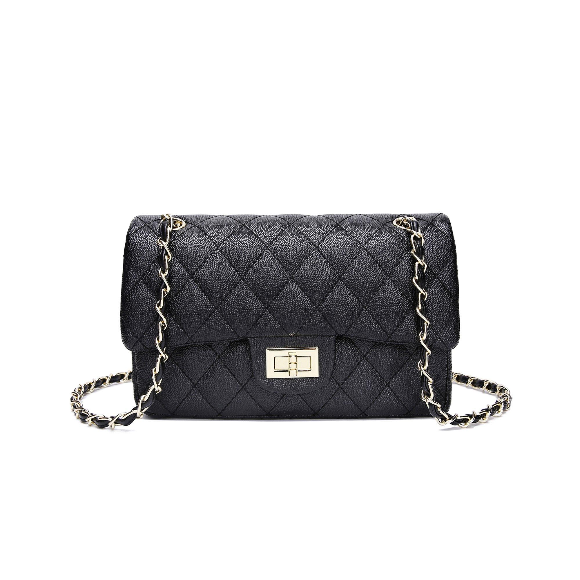 Jollque Classic Flap Caviar Leather Gold Hardware Crossbody Shoulder Bag (Black (Medium))