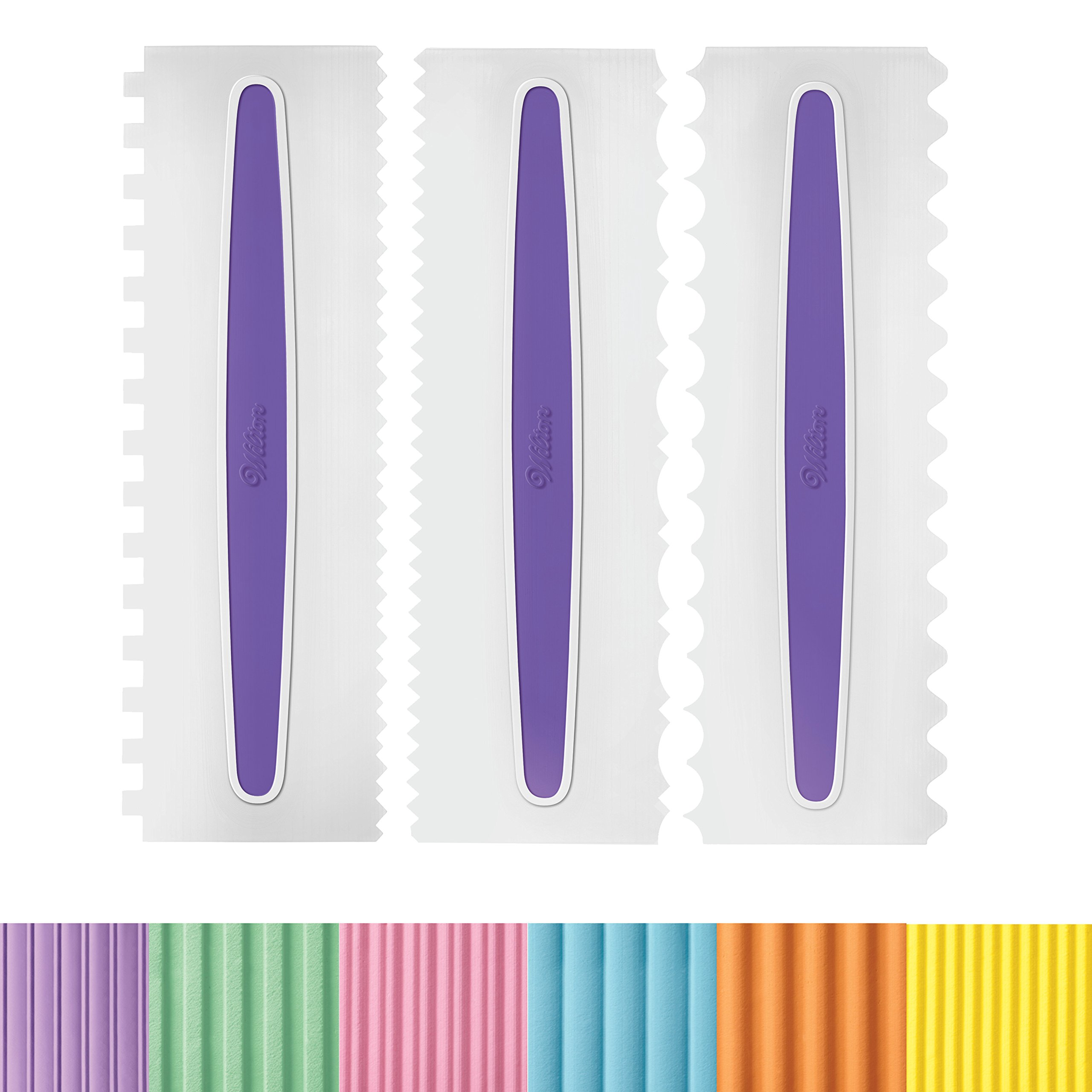 Wilton 417-1154 Icing Smoother Comb Set-3 Piece, White/Purple by Wilton