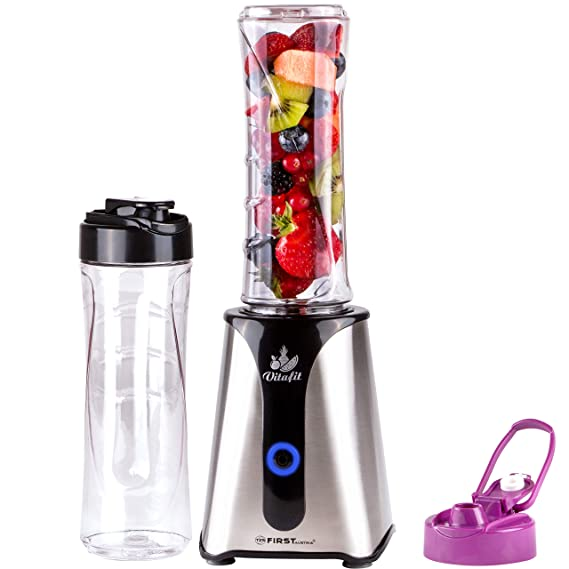 Batidora de vaso para smoothie | Smoothie Maker | Mix & Go | 350 W | acero inoxidable | Interruptor ON/OFF | 2 botellas de 600 ml sin BPA | 4 patas de ...