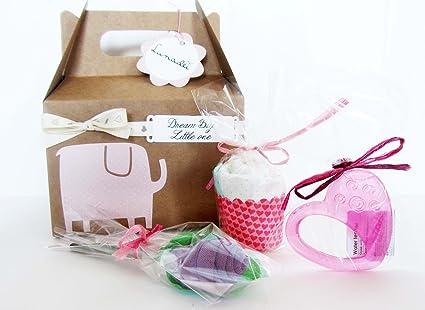 Idea Regalo para Bebé | Caja con Calcetines de ALGODÓN en forma de flor, mordedor