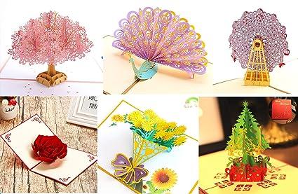Tarjeta Cumpleaños, 6 Hojas, GINGYI 3D Pop-Up Tarjetas de ...