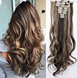 S-noilite Fashion 8 Piece Clip in Hair Extensions Long Full Head 18 Clips 24 inches Curly Dark Brown & Ash Blonde