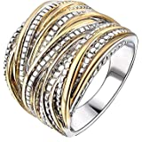 Moneekar Jewels 2 Tone Intertwined Crossover Statement Ring for Women Gold and Silver Plated 18mm Wide Rings for Women Girls