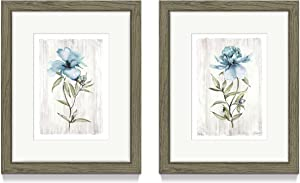 Flower Framed Picture Wall Art – Dainty Watercolor Wildflower with Grey Background Prints Wall Decor for Bedroom or Kitchen(8'' x 10'' x 2 Panels)
