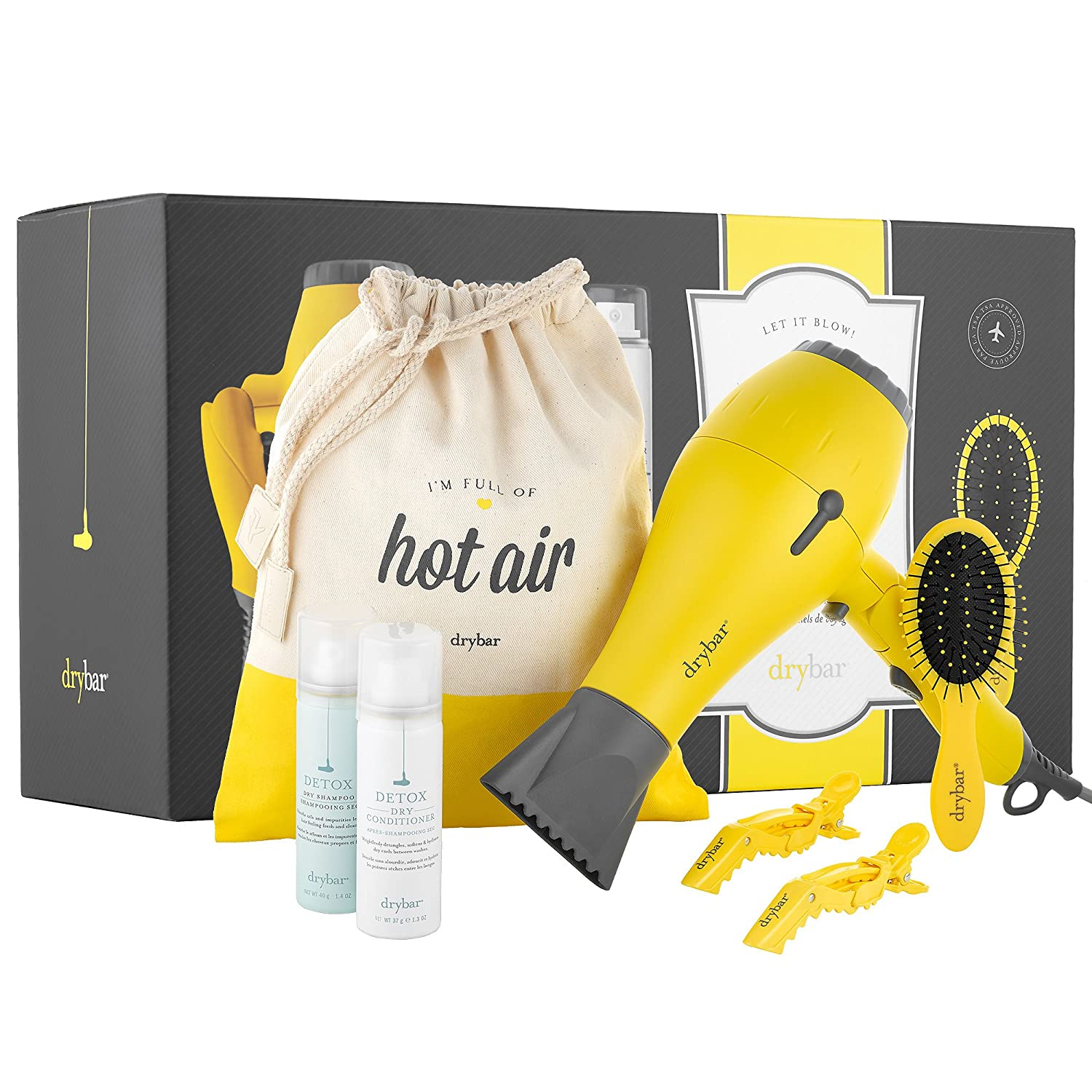 Let it Blow It s Drybar to Go The Ultimate Travel Essentials Kit – Baby Buttercup Travel Hair Dryer, Lil Lemon Drop Daily Detangler Hair Brush, and more