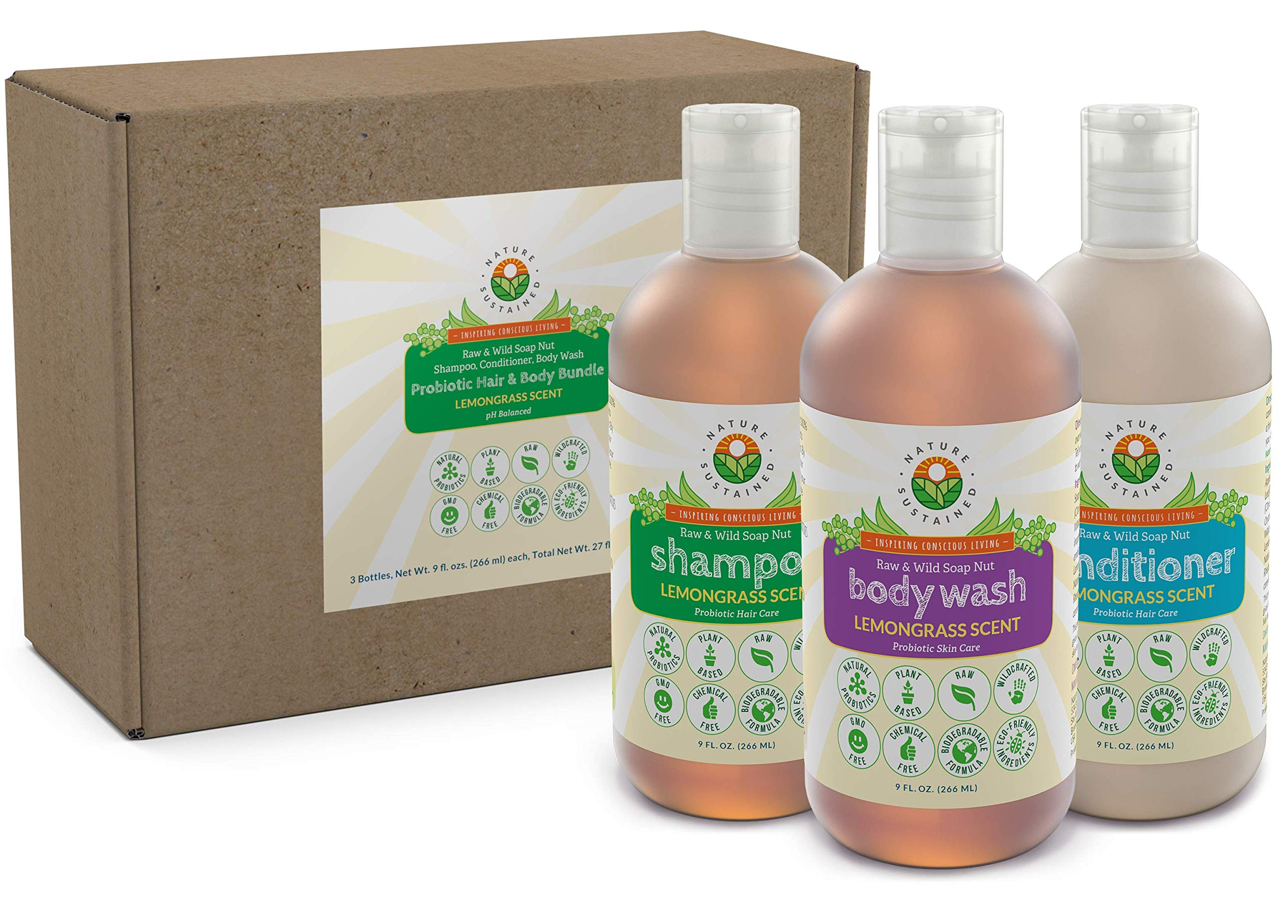 Soapberry Organic Shampoo, Body Wash & Conditioner [Lemongrass] (3 Pack Gift Bundle) - Raw & Wild Probiotic Shower Set for Sensitive Skin & Dry Hair - Sulfate Free & pH Balanced (9 Oz.) by Nature Sustained