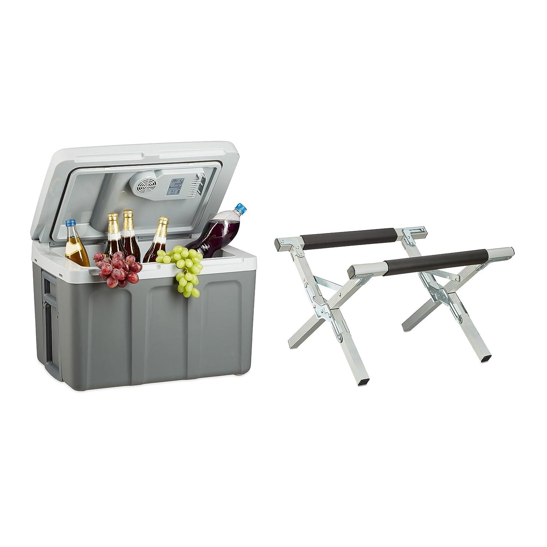 2 tlg Kühlbox Set, Thermobox elektrisch, Kühltasche, Warmhaltebox, Kühlboxständer, Kühlboxhalter klappbar, Kühlboxablage