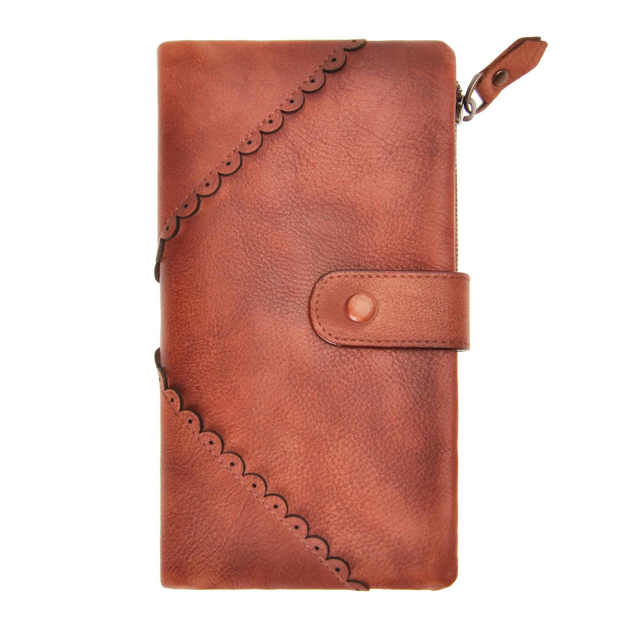 Women's Retro Style Long Clutch ZLYC Handmade Leather Purse Wallet with ID Window and Lace Detail (Light Orange)