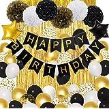 Black Gold Birthday Decorations for Men Women,Black Gold White Foil Confetti Latex Balloons Happy Birthday Banner Pom Poms Me