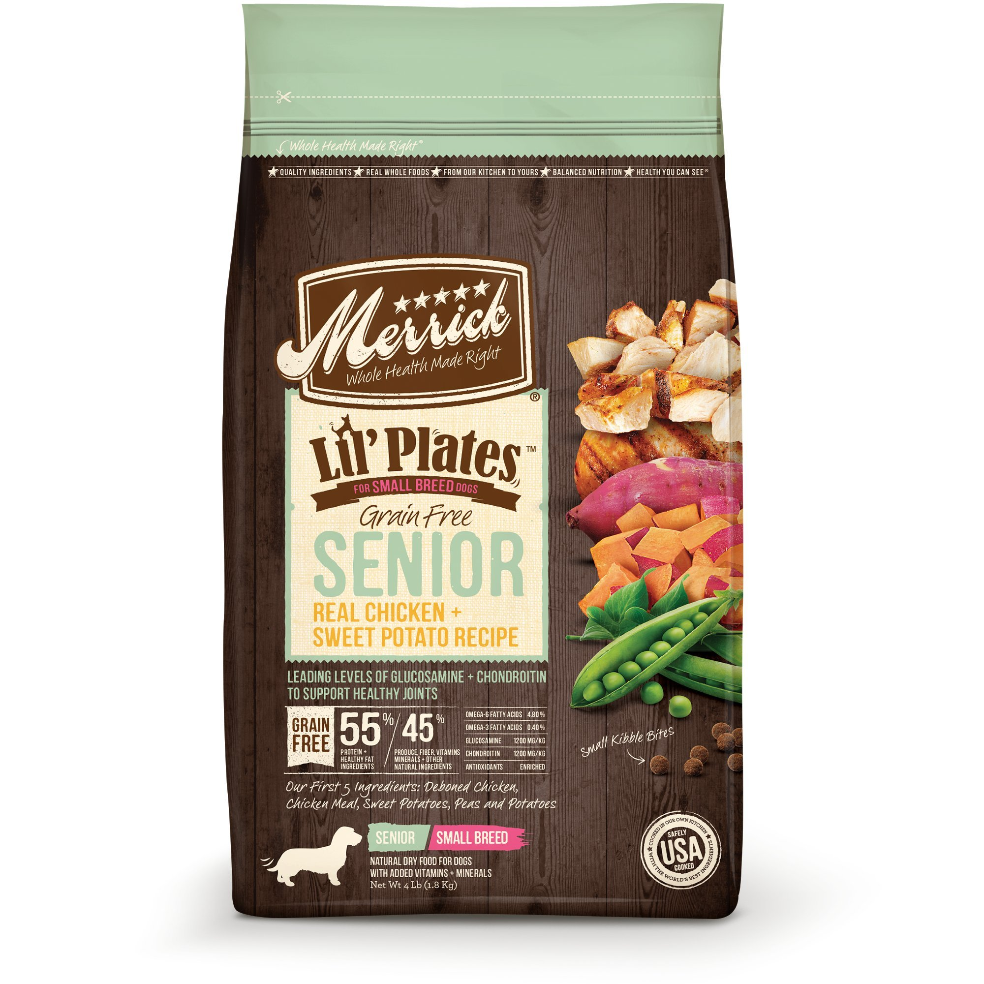 Merrick Lil' Plates Small Breed Grain Free Real Chicken + Sweet Potato Small Breed Senior Dry Dog Food, 4lbs.