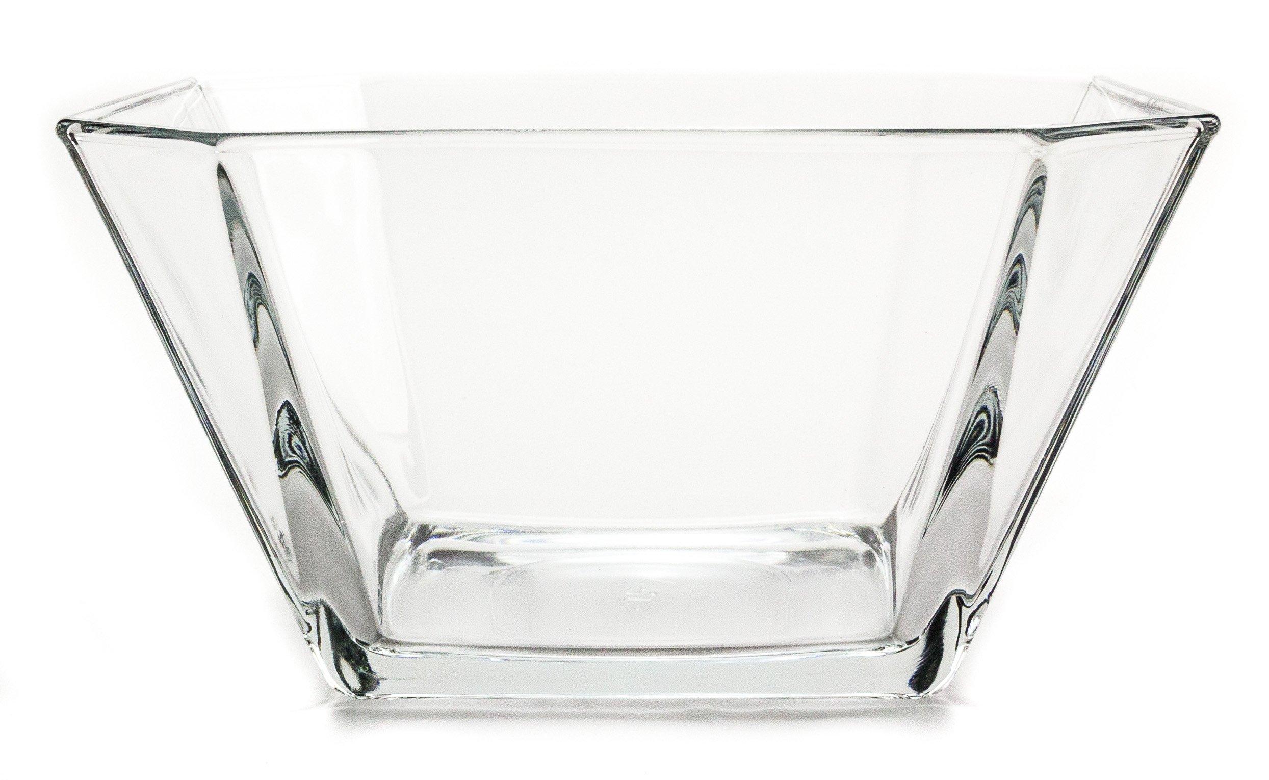 Modern Geometric Clear Glass Serving/Centerpiece Bowl, 64 Ounce