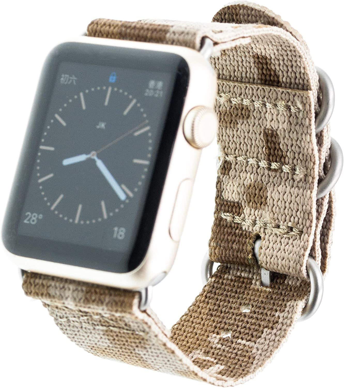 Digital Desert AOR1 Camouflage Nylon Strap Silver Buckle For Apple Watch Band 42mm NATO iWatch Series 3 2 1