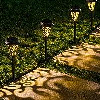 LeiDrail Solar Pathway Lights Outdoor Garden Path Light Warm White LED Black Metal Stake Landscape Lighting Waterproof…