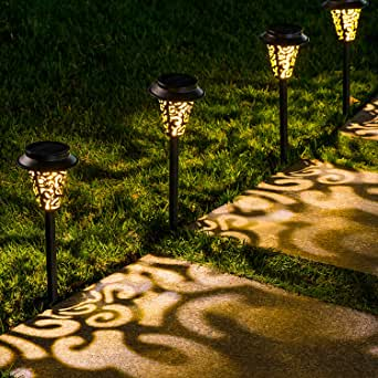 LeiDrail Solar Pathway Lights Outdoor Garden Path Light Warm White LED Black Metal Stake Landscape Lighting Waterproof for Halloween Party Yard Patio Walkway Lawn In-Ground Spike - 6 Pack