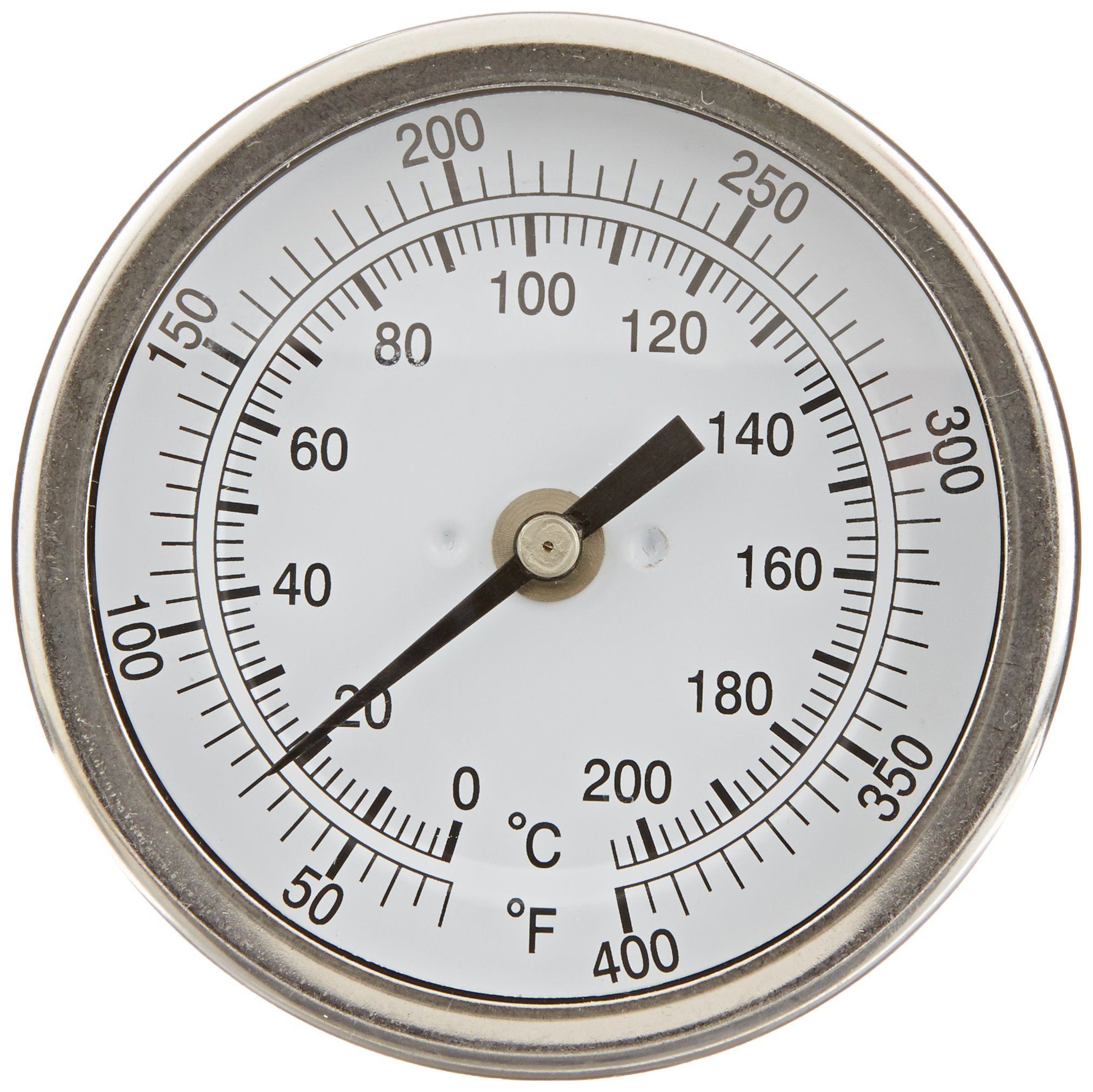 PIC Gauge B3B6-PP 3'' Dial Size, 50/400°F and 10/204°C, 6'' Stem Length, Back Angle Connection, Stainless Steel Case, 316 Stainless Steel Stem Bimetal Thermometer
