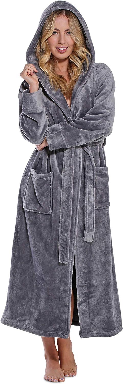 Women's Plush Soft Warm Fleece Bathrobe, Comfy Womens Robe at  Women's Clothing store
