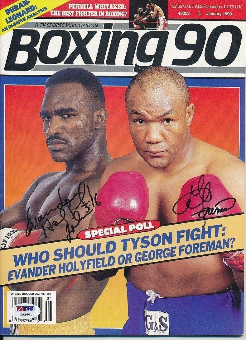 George Foreman Evander Holyfield Signed Boxing 90 Magazine Auto Y03601 - PSA/DNA Certified - Autographed Boxing Magazines Sports Memorabilia