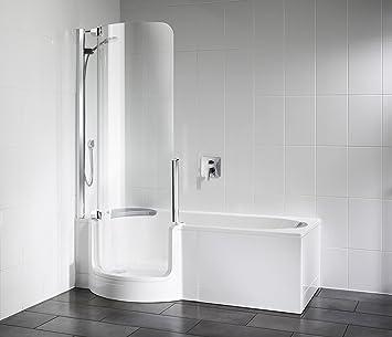 Artweger Twin Line combinado bañera bañera con puerta y ducha 160 cm Mampara de plata brillante Delantal Cristal Burdeos: Amazon.es: Bricolaje y herramientas