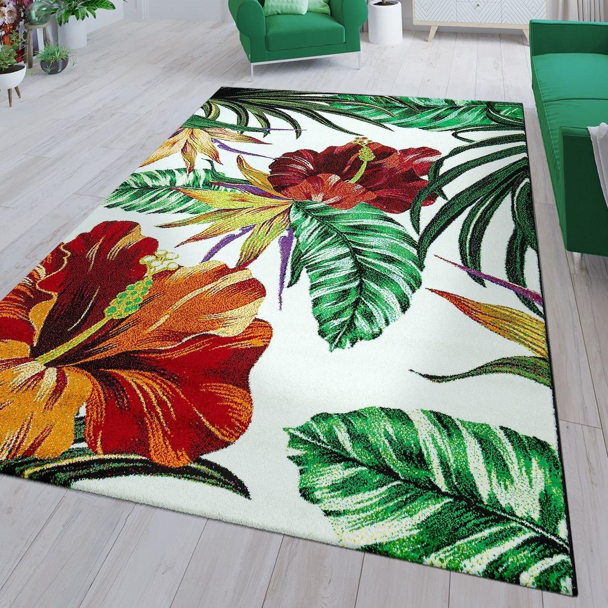 TT Home Moderner Kurzflor Teppich Grünery Exotische Blumen Muster Weiß Grün Rot Orange, Größe 120x170 cm