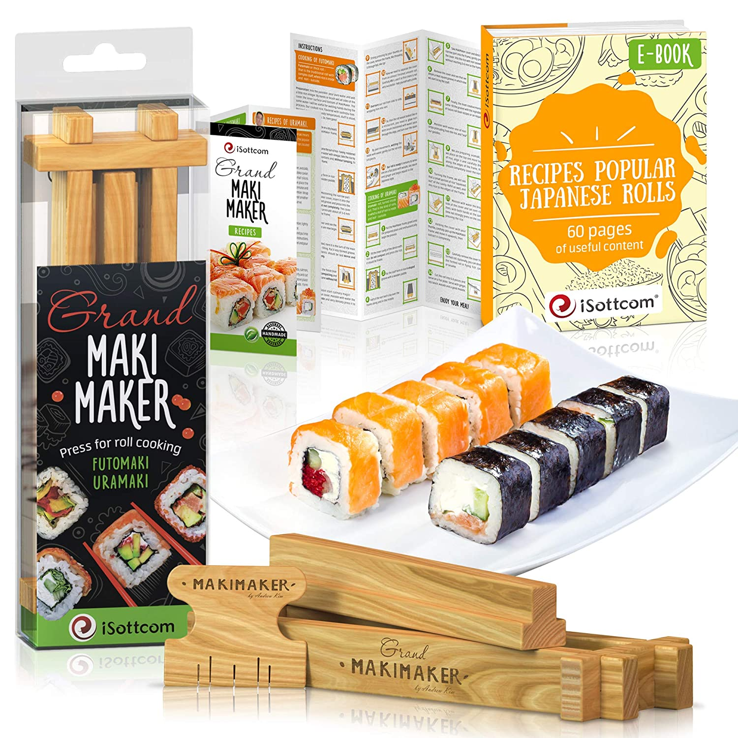Sushi Making Kit by iSottcom - Makimaker - Sushi Maker Best for Beginners and Kids - Sushi Kit - Japanese Sushi and Rolls at Home Quick and Easy with Sushi Mold - Sushi Press - Original Gift Idea Makimaker Mini