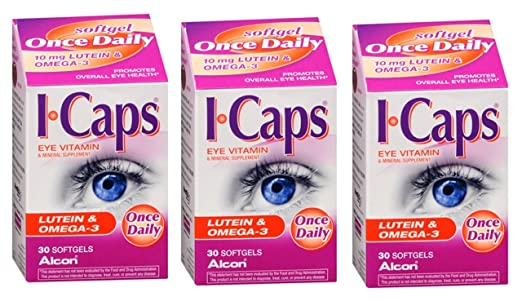 Icaps Lutein and Omega-3 Eye Vitamin and Mineral Supplement, 3Pack 90 softgels Total