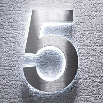 Hausnummer Edelstahl Hauswand Nummer Hausnummern Ziffern Zahlen 0-9 aus Metall