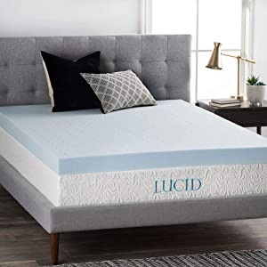 LUCID 4 Inch Gel Memory Foam Mattress Topper, Queen,