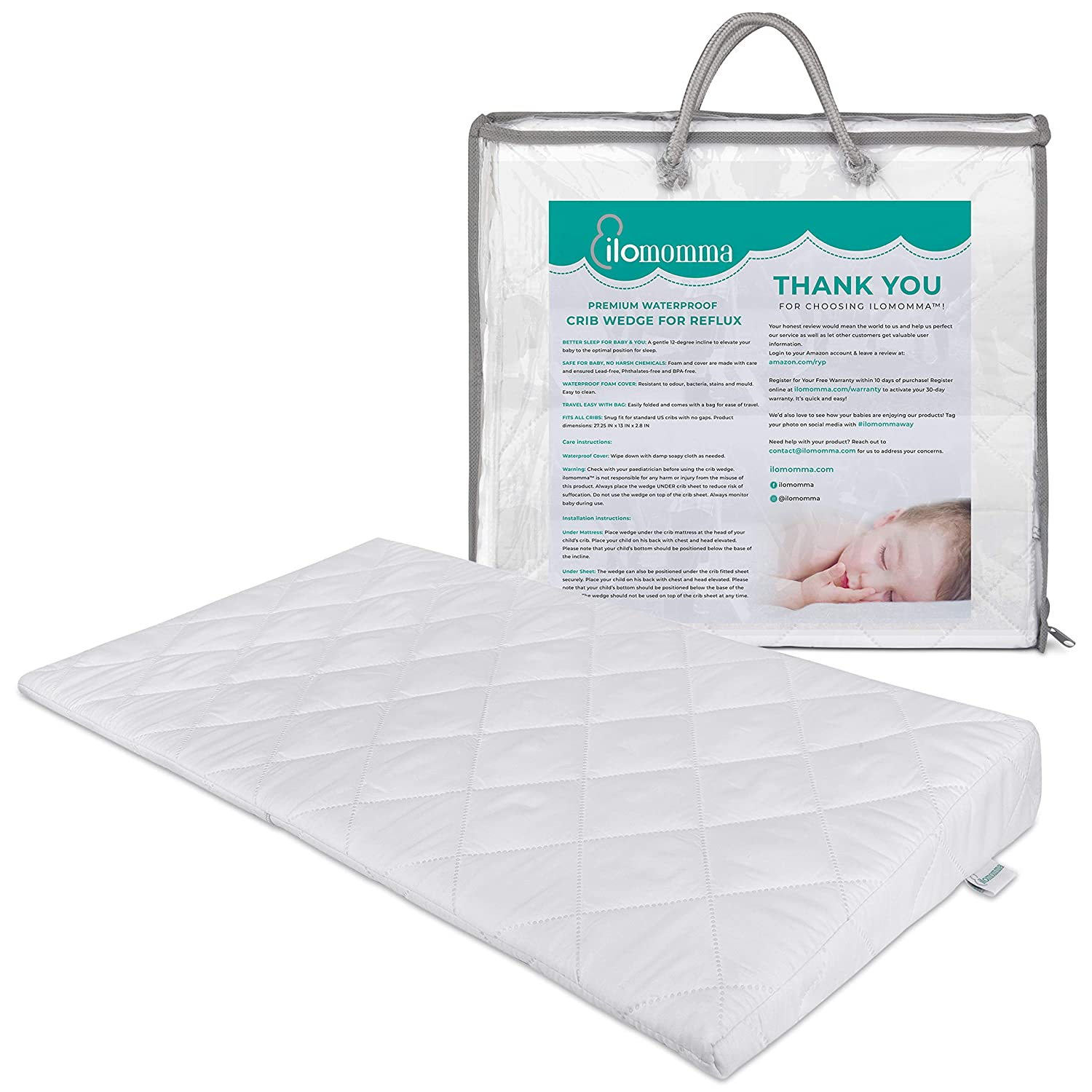 Crib Foam Wedge Pillow For Baby Acid Reflux & Gas Relief   12 Degree Elevation Pillow   Travel Wedge Pillow With Carry Bag   Waterproof Wedge Pillow Case Cover   Infant Congestion Sleep Solution
