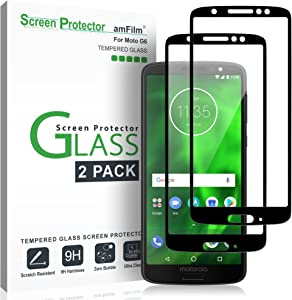 amFilm Glass Screen Protector for Moto G6, Tempered Glass 2018 (Model Number XT1925) (2 Pack)