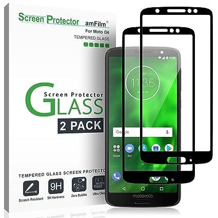 5e6fbb09d9d Moto G6 Screen Protector Glass, amFilm Full Cover Tempered Glass ...
