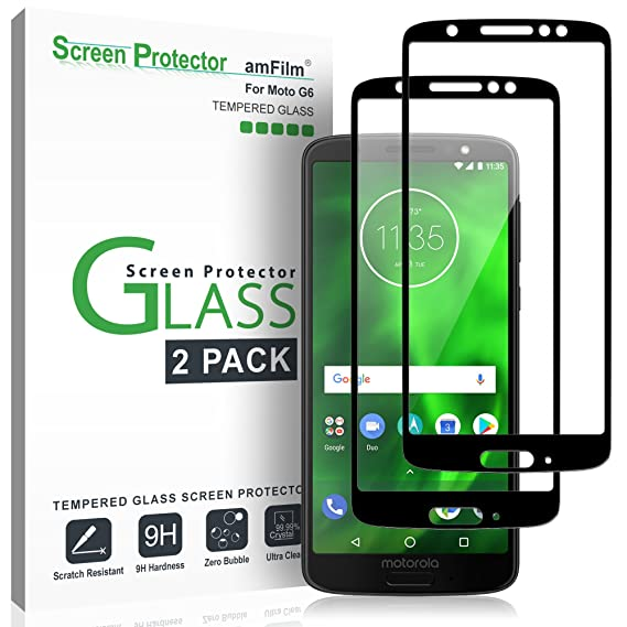 600b7544845 Amazon.com: amFilm Glass Screen Protector for Moto G6, Tempered ...