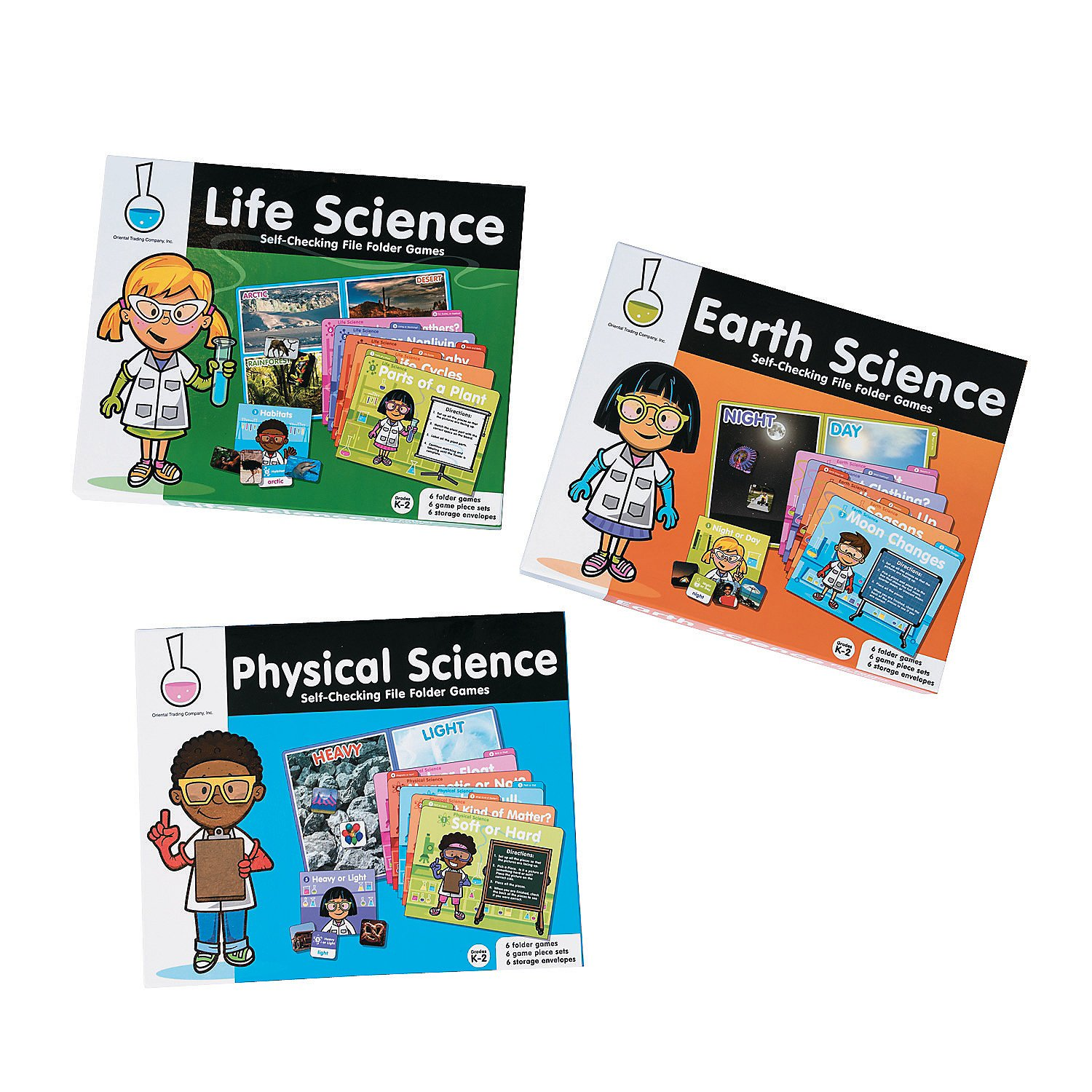 Fun Express - Science File Folder Games - Buy All - Educational - Teaching Aids - Science - 3 Pieces by Fun Express