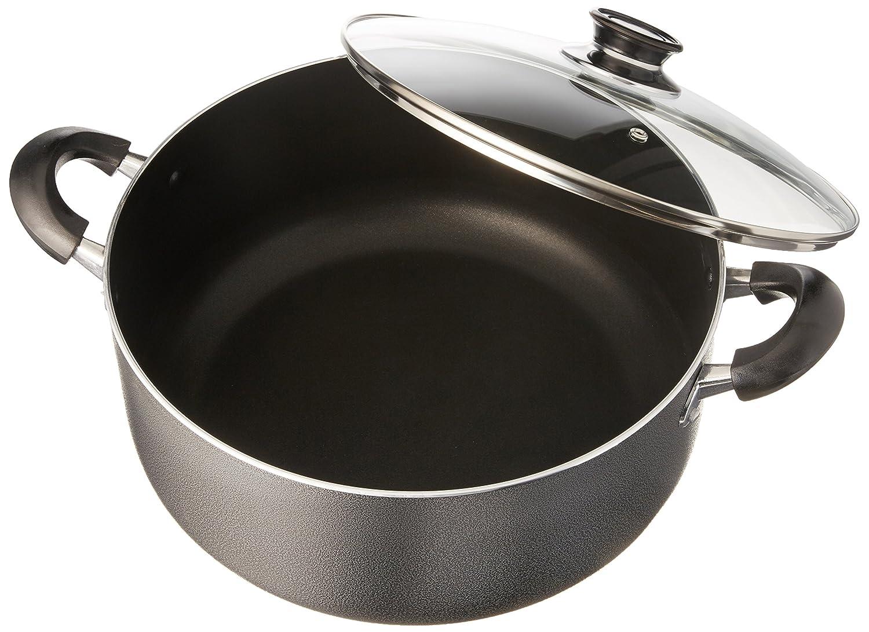 Uniware Non-Stick Aluminum Stock Pot With Glass Lid, Black, 10 quart