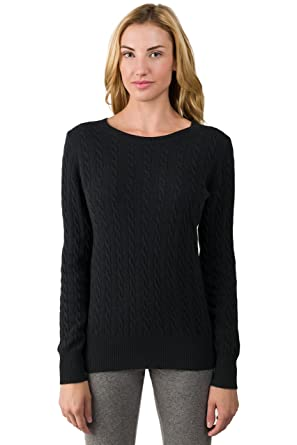 JENNIE LIU J Cashmere Women's 100% Cashmere Long Sleeve Pullover Cable Crewneck  Sweater Black Small
