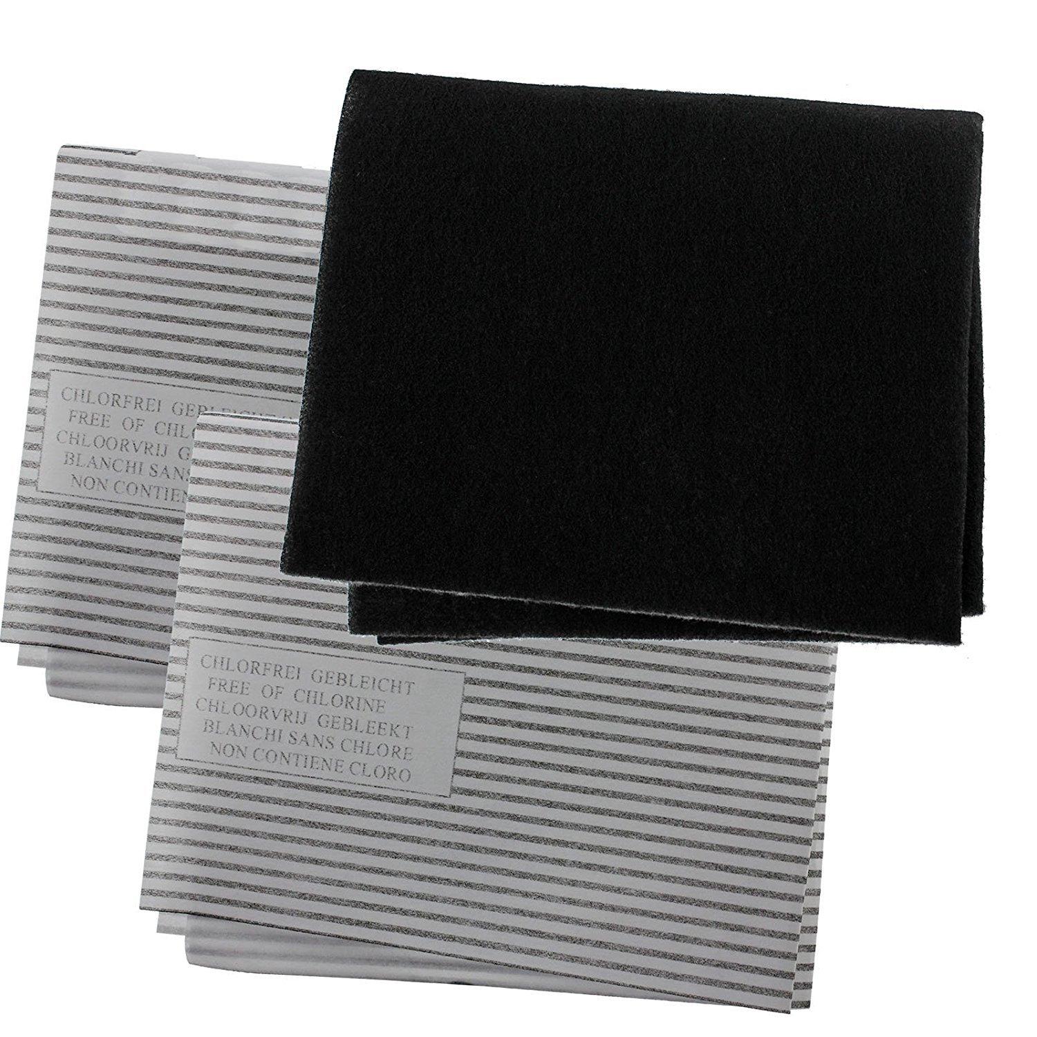 Universal Cooker Hood Carbon Grease Filter Kit for Kitchen Extractor Fan Vent - 3 Pack Zinc Products