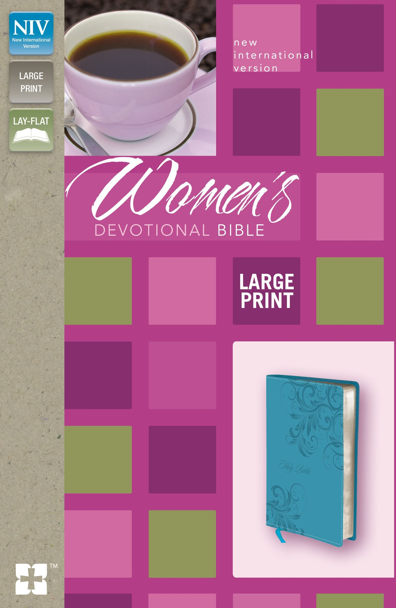 NIV, Women's Devotional Bible, Large Print, Leathersoft, Teal by HarperCollins Christian Pub.