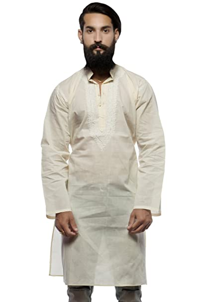 048ff36df2fb7b BDS Chikan Cotton Cream Kurta for men's with White Thread Lucknow Chikan  Work - BDS00229: Amazon.in: Clothing & Accessories