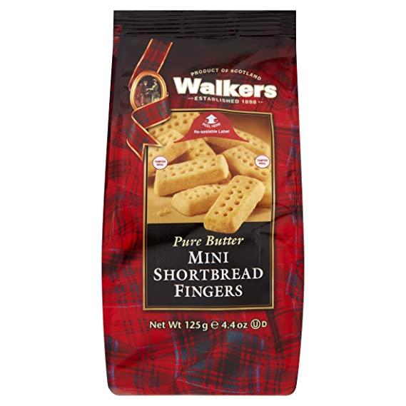 Walkers Mini Shortbread Fingers Postre - 3 Paquetes de 1 x 125 gr - Total: