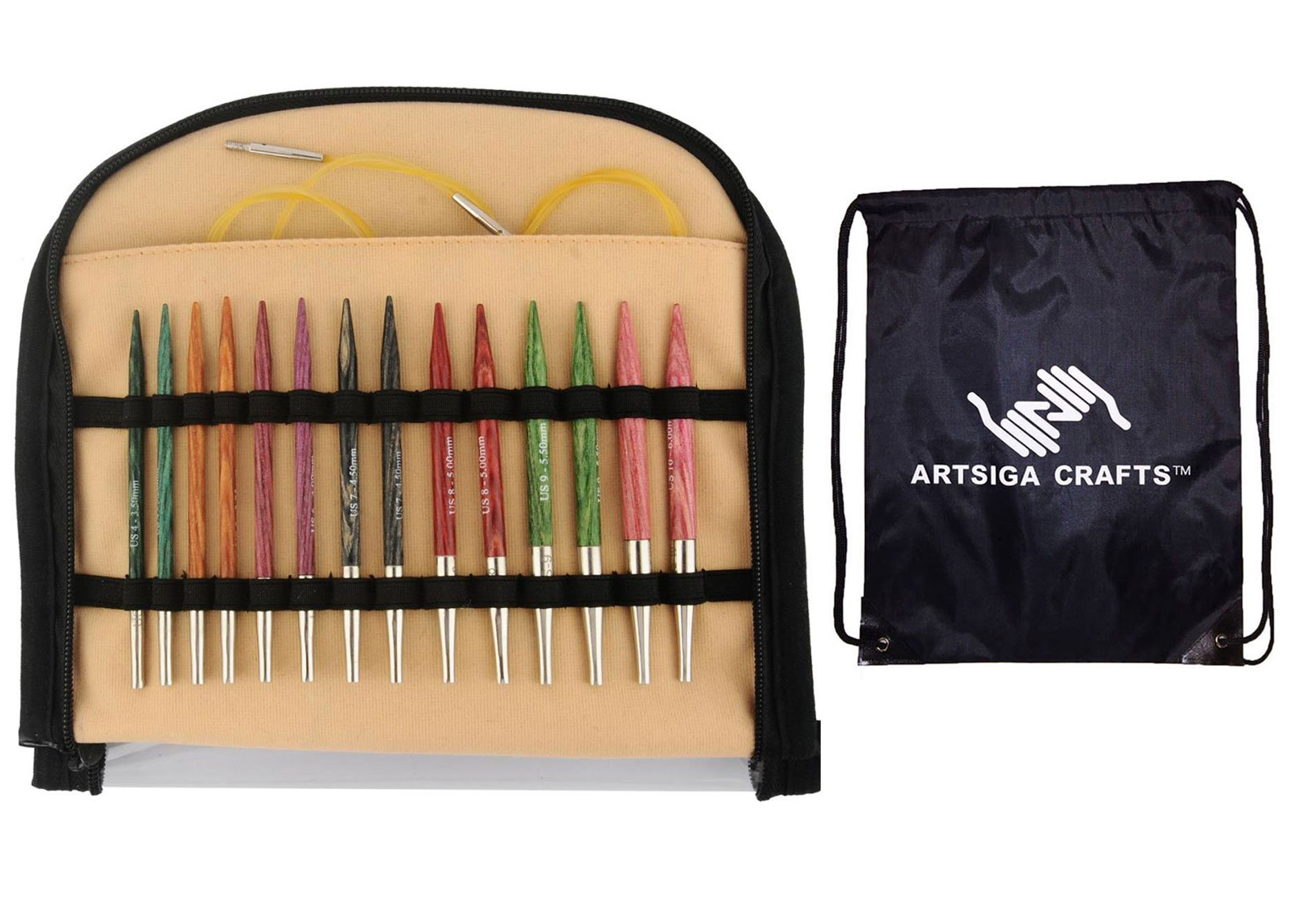 Knitter's Pride Knitting Needles Dreamz Special 16 inch Interchangeable Short Tip Set Bundle with 1 Artsiga Crafts Project Bag 200608