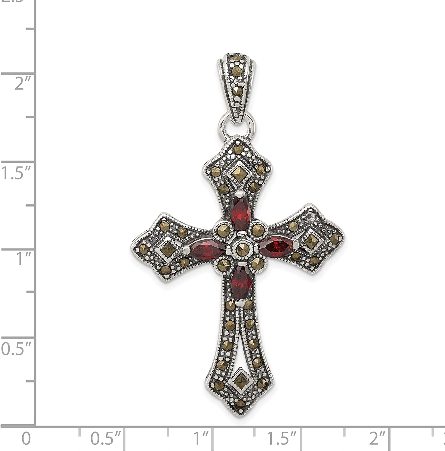 Jewelry Stores Network Sterling Silver CZ Cross Pendant