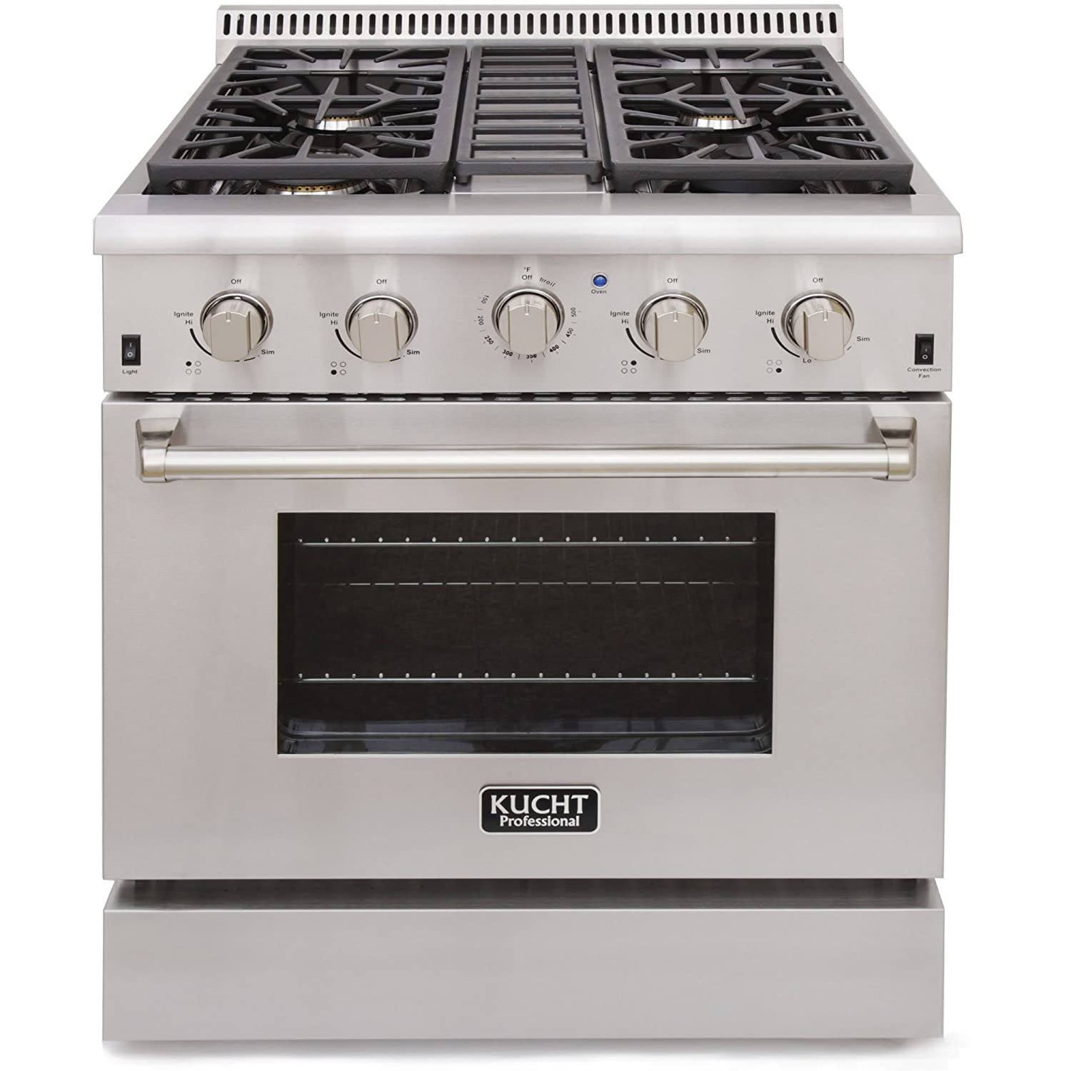 4.Kucht KRG3080U Professional 4.2 cu. ft. Natural Gas Range with Sealed Burners and Convection Oven, Stainless Steel