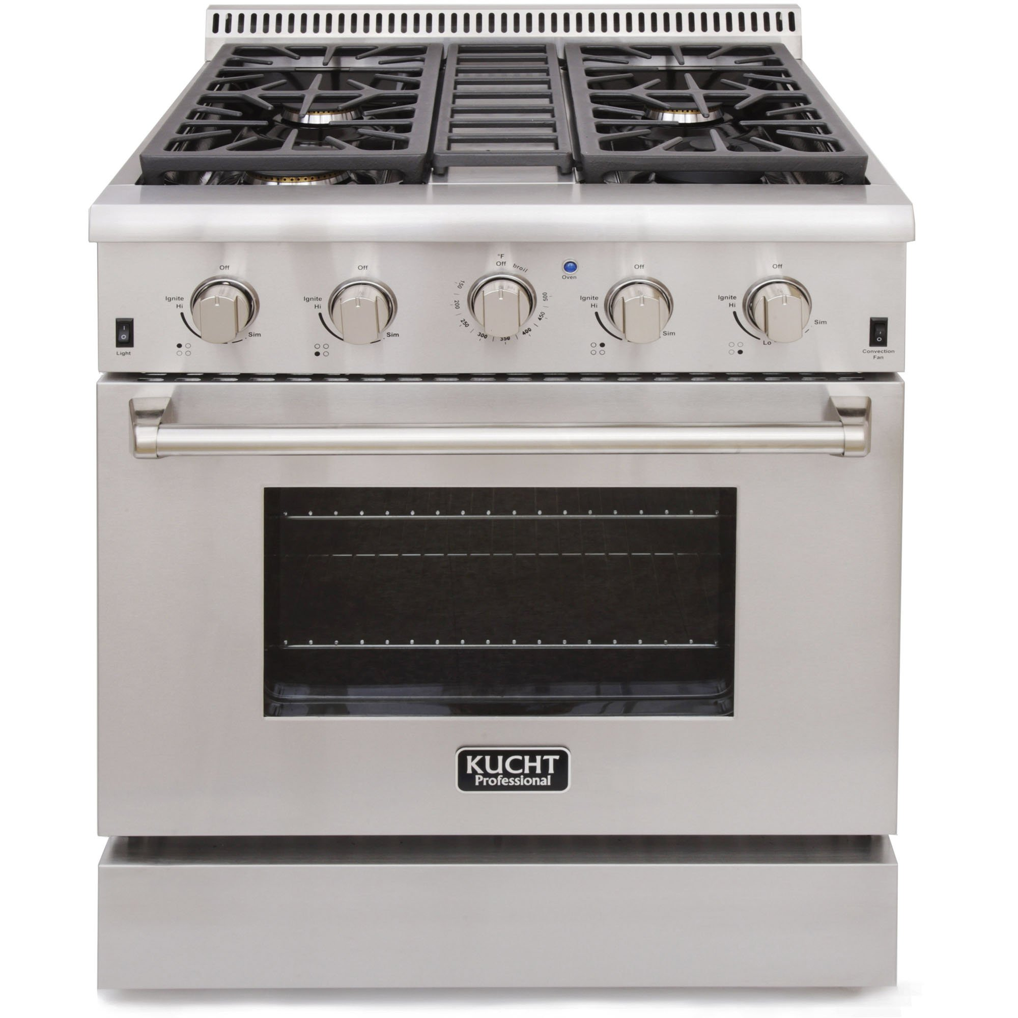 Kucht KRG3080U Professional 4.2 cu. ft. Natural Gas Range with Sealed Burners and Convection Oven, Stainless Steel