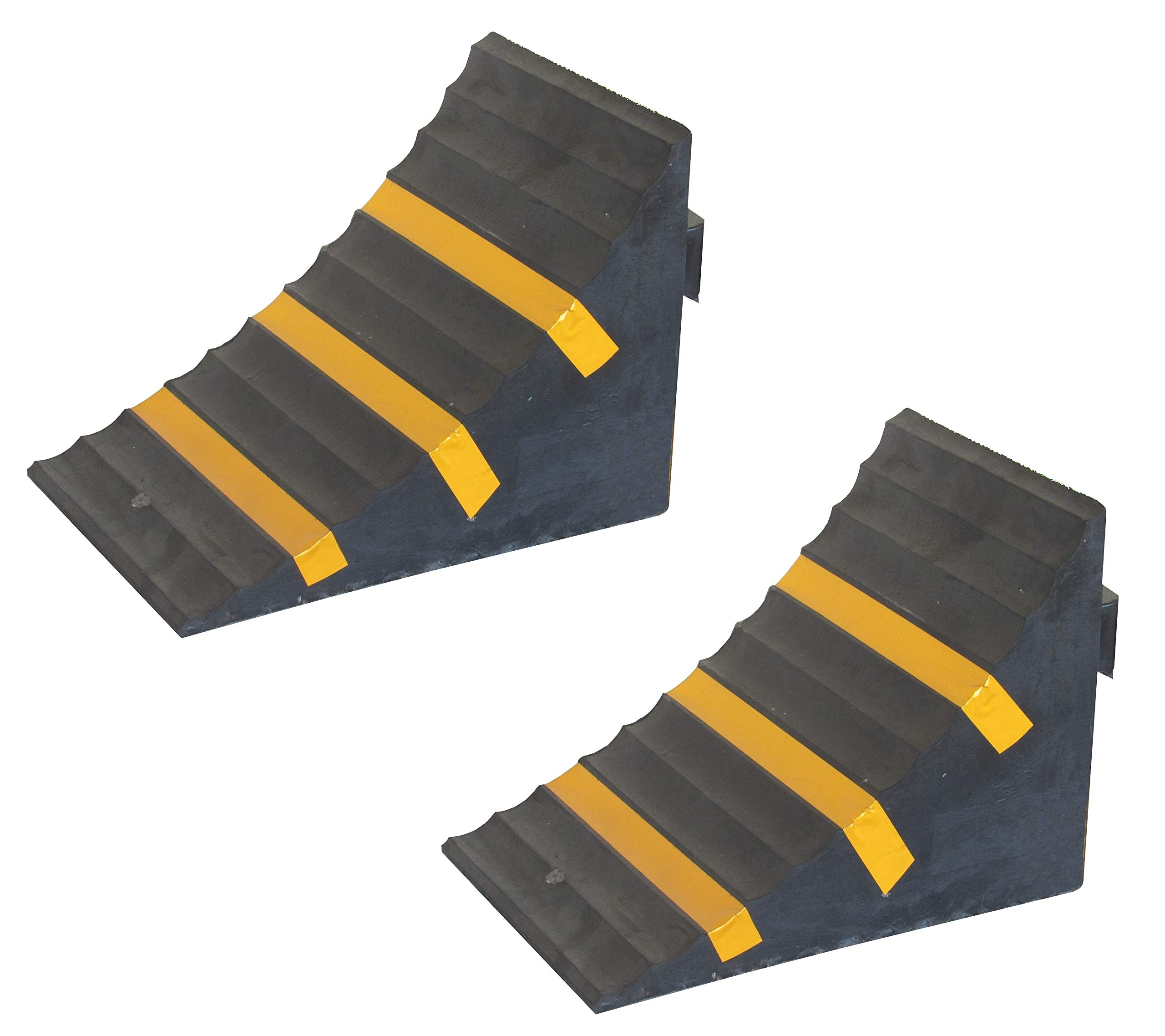 Rubber Wheel Chock, Heavy-Duty, with Handle, Blocks the Tires of Cars, Trailers, RVs, Trucks, Camper Vans and Caravans, Black Color with Yellow Strips, Dimensions 10.0'' L x 6.3'' W x 7.3'' H (Pack of 2) by SNS SAFETY LTD
