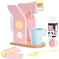 KidKraft 63380 Ensemble Machine à café en bois, dînette enfant, jeu d'imitation incluant accessoires en plastique - coloris pastel