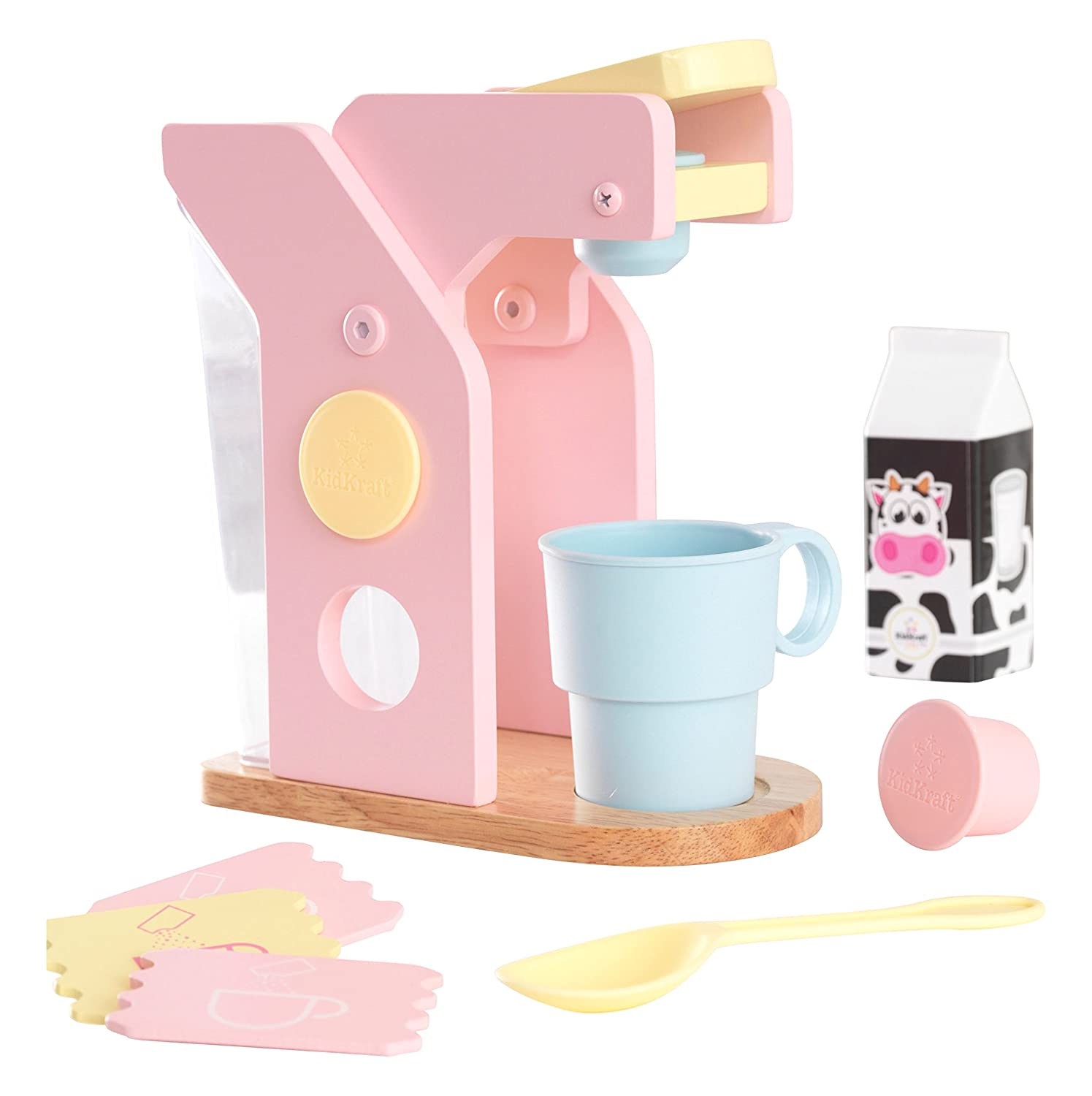 KidKraft Children's Pastel Coffee Set - Role Play Toys for The Kitchen, Play Kitchen Accessories