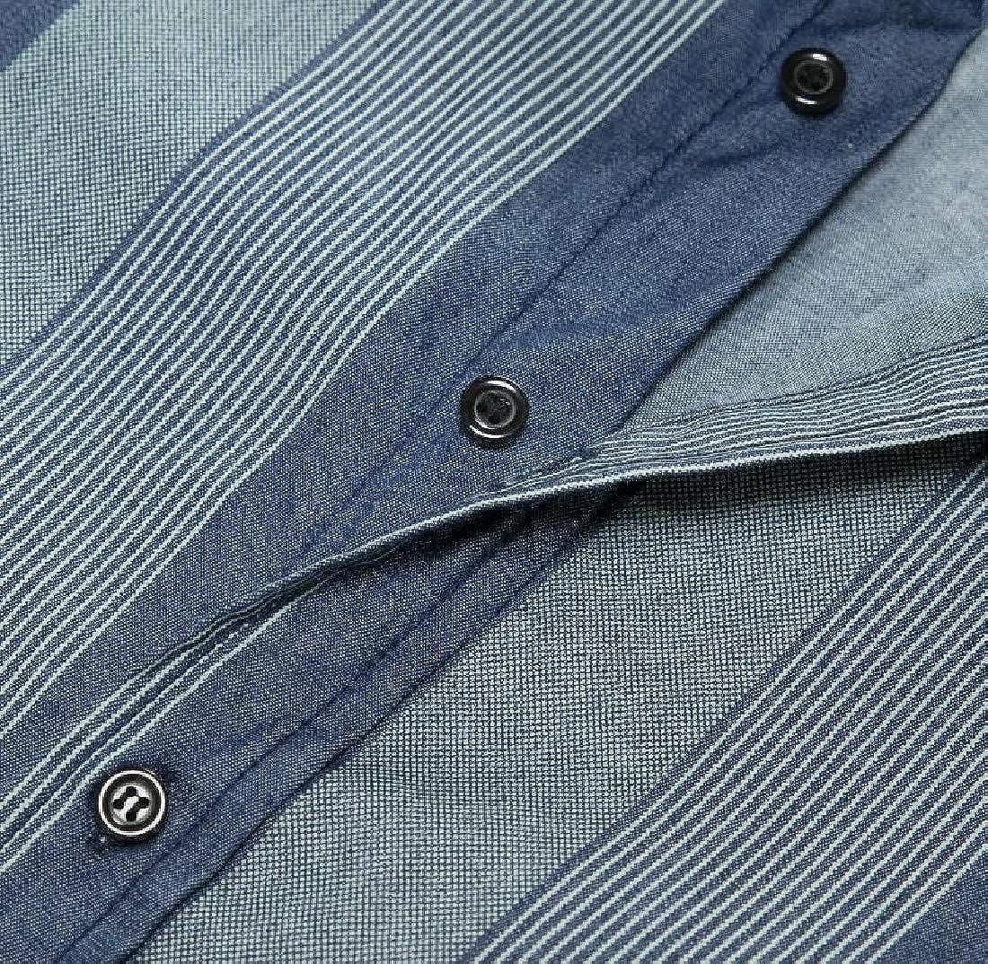XINHE Mens Long-Sleeve Button Down Denim Cotton Lapel Shirt